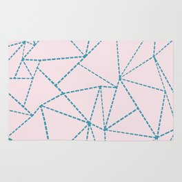 Ab Dotted Lines Blue on Pink Rug