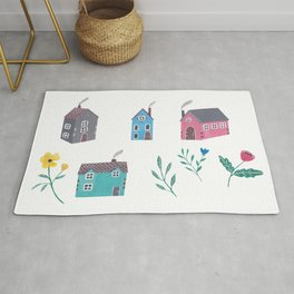 Houses and Flowers Rug