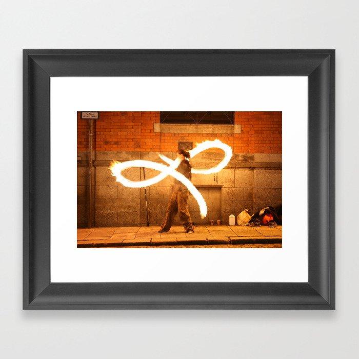 Fire Dancer Temple Bar Dublin Framed Art Print