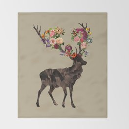 Spring Itself Deer Flower Floral Tshirt Floral Print Gift Throw Blanket