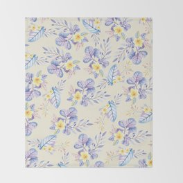 Lavender yellow purple watercolor modern floral Throw Blanket