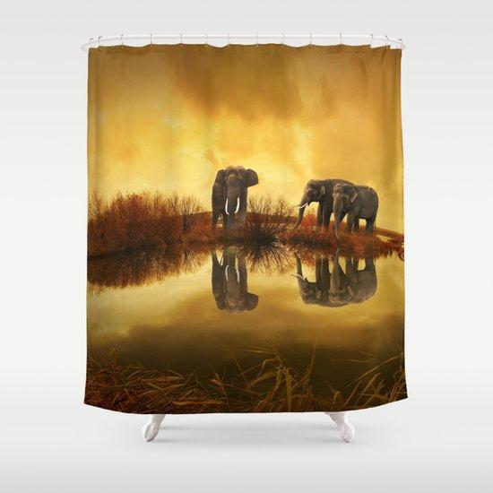 The Herd (Elephants) Shower Curtain