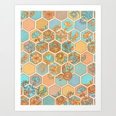 Golden Honeycomb Tangle - hexagon doodle in peach, blue, mint & cream Art Print