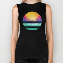 Vintage Retro 80's Synthwave Sunset Palms Biker Tank