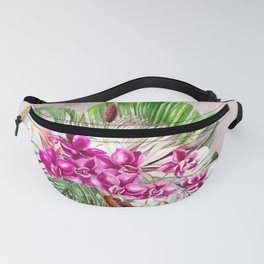 Tropical Pink Orchids Fanny Pack