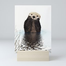 Adorable Smiling Otter in Lake Mini Art Print