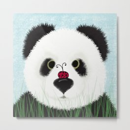 The Panda Bear And His Visitor Metal Print