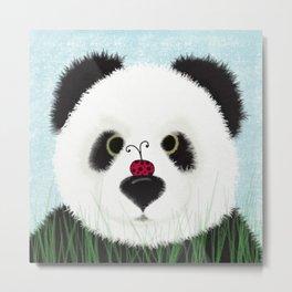 The Panda Bear And His Visitor Metal Print