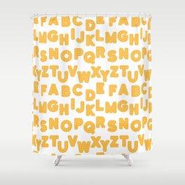 wafflebet waffle alphabet Shower Curtain