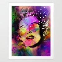 marilyn Art Prints featuring Marilyn  by mark ashkenazi