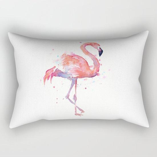 Pink Flamingo Watercolor | Tropical Animals Bird Flamingos Rectangular Pillow