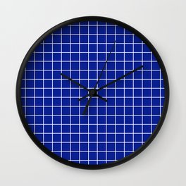 Indigo dye - blue color - White Lines Grid Pattern Wall Clock