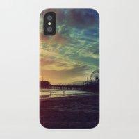 santa monica iPhone & iPod Cases featuring Santa Monica Sunset by Michali's Studio