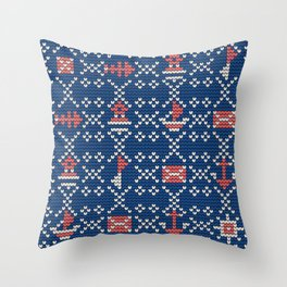 Grandma's knitting pattern for Saylor's Ugly sweater #2 Throw Pillow