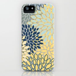 Floral Print, Yellow, Gray, Blue, Teal iPhone Case