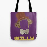 willy wonka Tote Bags featuring Willy Wonka and you by Ally Simmons