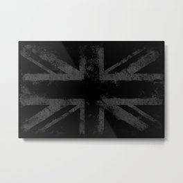 Grey Grunge UK flag Metal Print