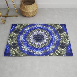 Happy Blues - blue and white kaleidoscope from lighted trees 1430 Rug