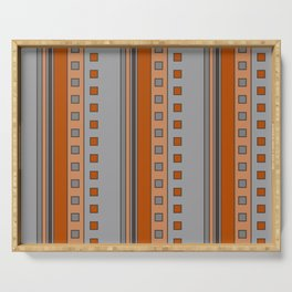 Squares and Stripes in Terracotta and Gray Serving Tray