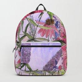 Watercolor Wildflower Garden Flowers Hollyhock Teasel Butterfly Bush Blue Sky Backpack