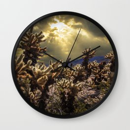 Cholla Cactus Garden bathed in Sunlight in Joshua Tree National Park California Wall Clock