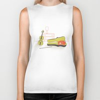 violin Biker Tanks featuring Cat & Violin by Jenny Tiffany