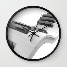 Keyboard of a piano waving on white background - 3D rendering Wall Clock