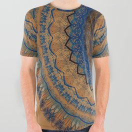 Rust Blue Mandala Design All Over Graphic Tee
