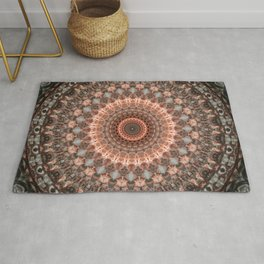 Detailed mandala in brown and peach tones Rug