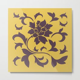 Oriental Flower - Cherry Chocolate Mustard Metal Print