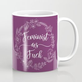 FEMINIST AS FUCK - Sweary Floral Wreath Coffee Mug