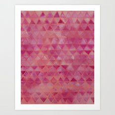 Pink Watercolor Triangles Art Print