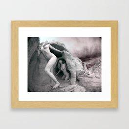 6228 BW Three Desert Art Nude Women Among Rocks Framed Art Print
