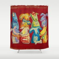 dogs Shower Curtains featuring Dogs by Catru