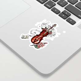 Brown Violin with Notes Sticker