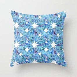 Geometric Crystalline Star Pattern in Blues Throw Pillow