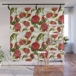Eucalyptus Leaves and Protea Flowers Wall Mural