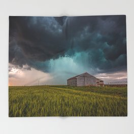 Rainy Day - Storm Passes Behind Barn in Southwest Oklahoma Throw Blanket