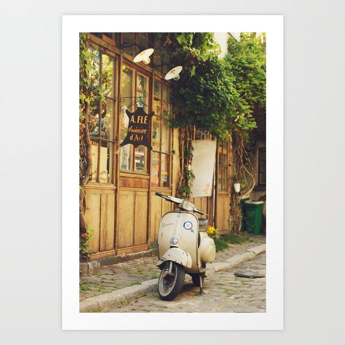 Vintage Vespa in Paris Kunstdrucke