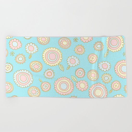 Cute Pastel Doodle Flower Pattern Beach Towel