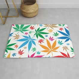 marijuana leaf color pattern Rug