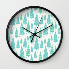 Pastel Christmas Tree Forest Wall Clock