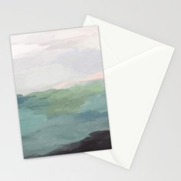 Seafoam Green Mint Black Blush Pink Abstract Nature Land Art Painting Art Print II Stationery Cards