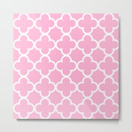 Rose Quartz Quatrefoil Metal Print