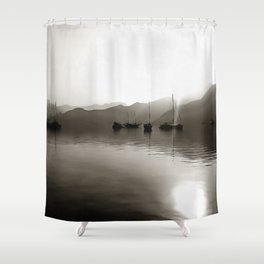 Gulets In Greyscale Shower Curtain