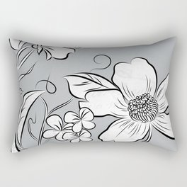 Merry Marsh Marigold - Black and White Rectangular Pillow