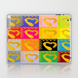 Gold Hearts on colorful Stamp Laptop & iPad Skin