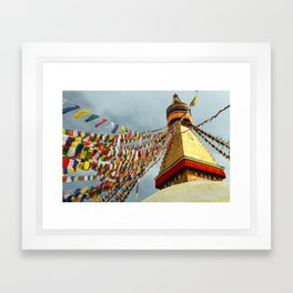 Boudhanath stupa in Nepal Framed Art Print