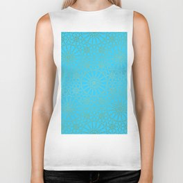 Moroccan Nights - Gold Teal Mandala Pattern - Mix & Match with Simplicity of Life Biker Tank