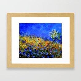 Blue cornflowers in Derage Framed Art Print